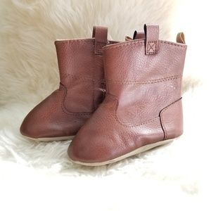 Baby Brown Faux Leather Soft Sole Boots